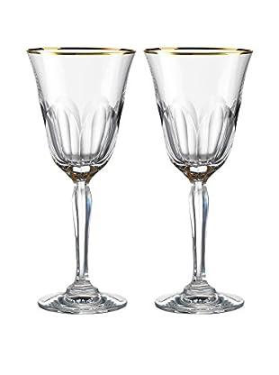Rogaška Set of 2 Aulide 5-Oz. Goblets, Gold