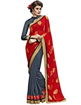 Indian Women Viscose Jacquard And Georgette Red And Grey Half & Half Saree