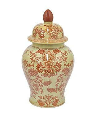 Three Hands Floral Scroll Ceramic Lidded Jar