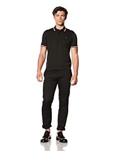 Pringle of Scotland Men's Pique Polo with Contrast Tipping (Black)