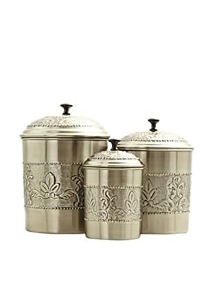 Old Dutch International 3-Piece Antiqued Embossed Victoria Canister Set