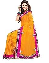 Yellow Party Wear Saree Zardosi Thread Stone Indian Designer Georgette Sari
