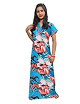 Indiatrendzs Women's Hosiery Cotton Nighty Multicolor Nightgown Floral Print Sleepwear Maxi Dress