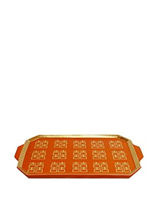 Orange Double Happiness Pattern Rectangular Tray