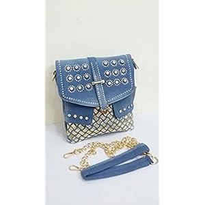 Shopping World Denim Square Sling Bag - Blue