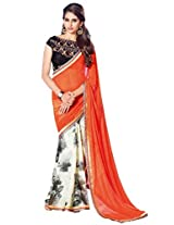 Ethnic Station Rust Lace Work Saree