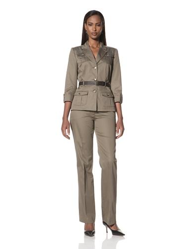 Tahari by A.S.L. Women's 4-Pocket Jacket with Pants (Sahara)