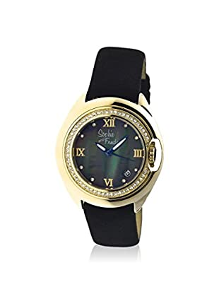 Sophie and Freda Women's SF1004 Belize Black/Black/Gold Leather Watch