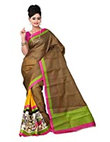 Parichay Women's Bhagalpuri Silk Saree(Yellow, Brown)