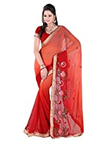 Khushali Multicolored Red Georgette Saree With Unstitched Blouse Piece