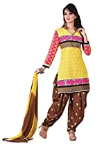 Vibes Womens Cotton Patch Work Straight Dress Material (V160-1 _Yellow _Free Size)