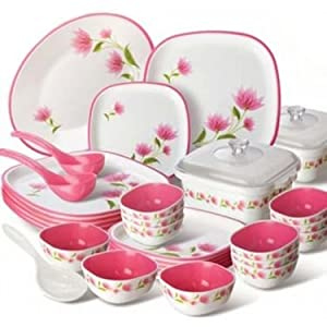 Nayasa 32 Pcs Printed Square Dinner Set