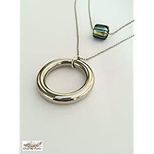 Under the Feather Layered Necklace- Silver Hoop