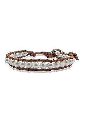 Lucie & Jade Echtleder-Armband Imitationsperlen braun/weiß