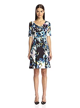 Chetta B Women's Fit and Flare Printed Scuba Dress with Belt