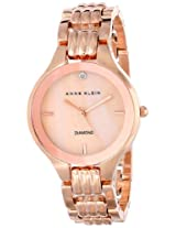 Anne Klein Womens AK/1488RMRG Diamond Dial Rose Gold-Tone Bracelet Watch