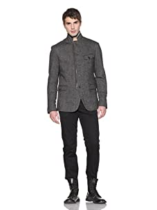 John Varvatos Men's Tweed Convertible Collar Jacket (Ebony)