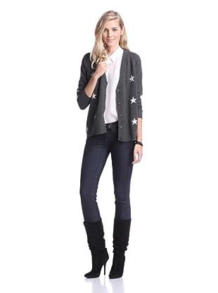 Kier & J Women's Cashmere Star Cardigan (Anthracite Grey/Crème White)