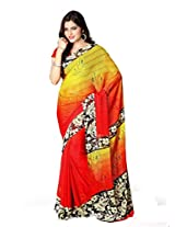 Vibes Women's Colombo Chiffon Saree with Blouse ( S37-1001B_Multi-Coloured)
