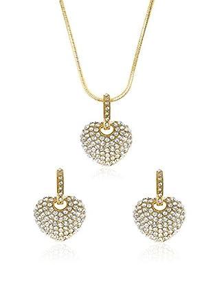 Philippa Conjunto de collar y pendientes Strass Heart metal bañado en oro 24 ct