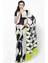 White Printed Georgette Saree