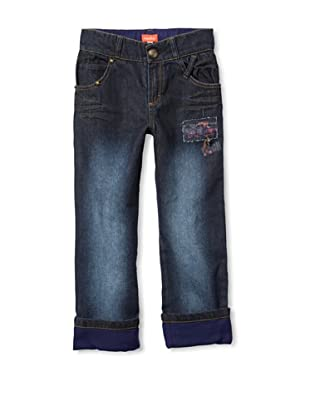 Marese Girl's Cuffed Embellished Jeans (Blue)