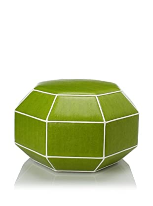 Shine by S.H.O Faceted Ottoman (Green/White)