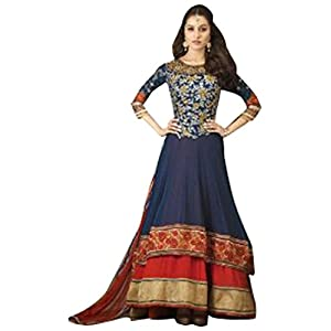 Shraddha Kapoor Blue & Red Embroidered Anarkali Suit - TBSUKHW1110