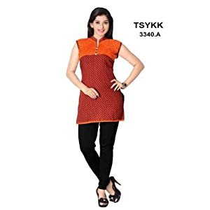 Red & Orange Colored Sleeveless Fancy Waist Length Cotton Material Printed Kurti - Model Number 3340a by Triveni