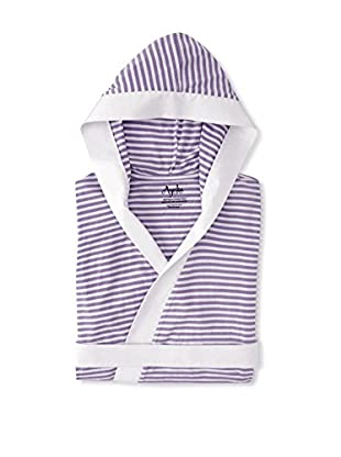 Nine Space Knee Length Striped Jersey Knit Robe (White/Lavender)