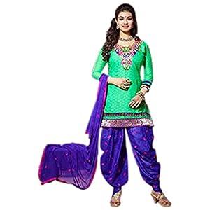 Ayesha Takia Green Cotton Jacquard Top With Cotton Bottom & Chiffon Dupatta Printed Work & Embroidery Unstitched Punjabi Patiala Salwar Kameez Suit