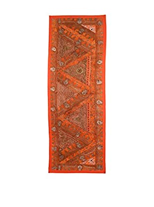 Uptown Down One-of-a-Kind Floor Runner of Vintage Tribal Collars, Red/Orange
