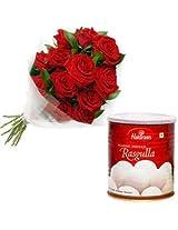 12 Red Roses Bunch With 1 Kg HaldiramS Rasgulla
