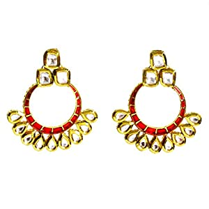 Daamak Jewellery Circular Green Enamel Kundan Earring-Red