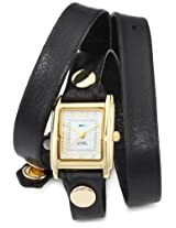 La Mer Collections Women's LMWTW1035 Gold-Tone Watch with Black Leather Wrap-Around Band