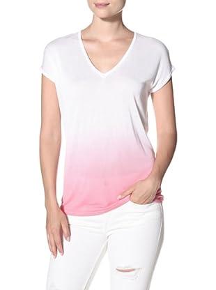 525 America Women's Dip Dye V-Neck Top (Pink Slip)