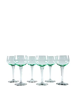 Set of 6 French Wine Glasses, Green/Clear