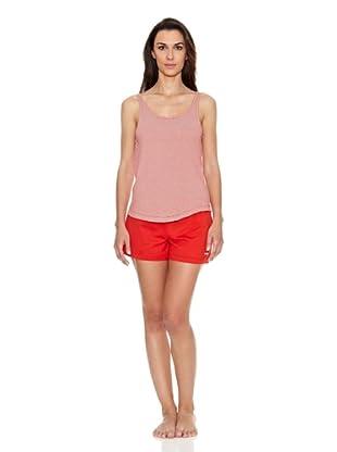 Unno Pijama De Tirantes Y Pantalón Corto (Rojo)
