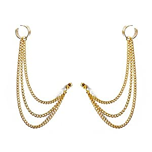 Via Mazzini Chains Medley Ear Cuff Earrings Set - Gold