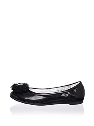 Pliner Jrs April Embellished Flat (Black Leather)
