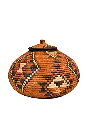 Asian Loft Zulu Ukhamba Wicker Basket, Brown/White/Beige/Plum