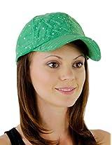 Glitzy Game Flower Sequin Trim Baseball Cap for Ladies (Emerald)