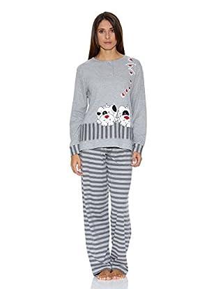 Muslher Pijama Señora Con Tapeta Tira Bordado Perritos (Gris)