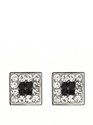 Gold & Diamond Pendientes Black Moon Circonitas Blancas y Negras