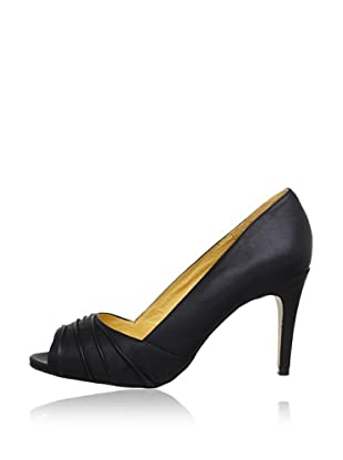 Buffalo London 112-3151 SILK LEATHER 143319 - Peep Toes de cuero  mujer (Negro)