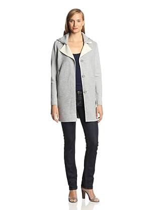 M. Patmos Women's Detachable Lapel Coat with Detachable Hood (Heather Grey)