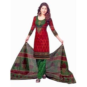 SGC- Red cotton unstitched Churidar kameez with dupatta-SG-417