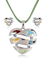 Estelle Silver Plated Necklace Set With Crystals and Multi Color (8531)