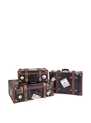 Voyager Set of 3 Faux-Leather Labeled Suitcases