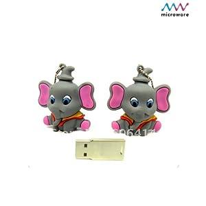 Microware 8GB  Grey Elephant Shape Designer Pendrive